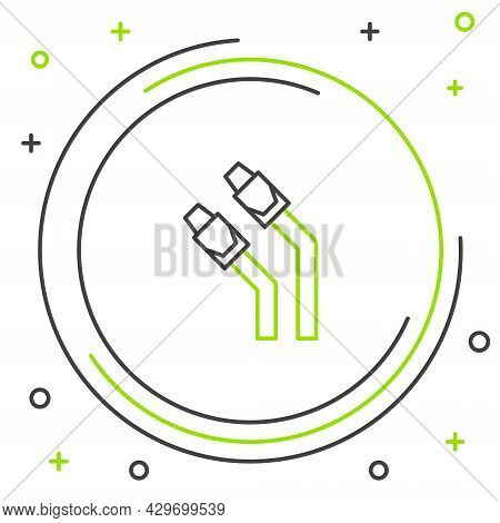 Line Lan Cable Network Internet Icon Isolated On White Background. Colorful Outline Concept. Vector