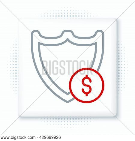 Line Shield With Dollar Symbol Icon Isolated On White Background. Security Shield Protection. Money