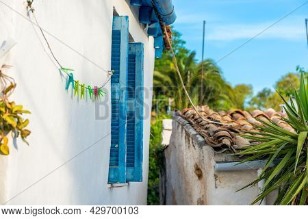 Old Mediterranean Blue Window Shutters And Wall Background
