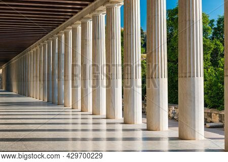 Columns Perspective Of Stoa Of Attalos In Ancient Agora In Athens, Greece