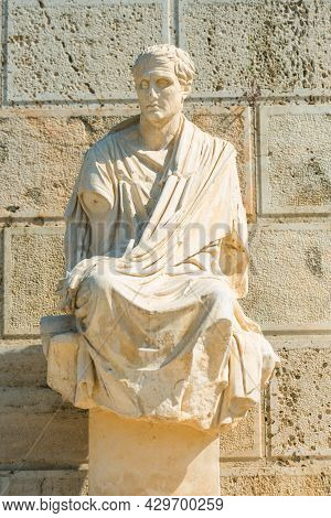 Antique Statue Of Menander, The Ancient Greek Playwright And Comedian At The Theater Of Dionysus, Wh