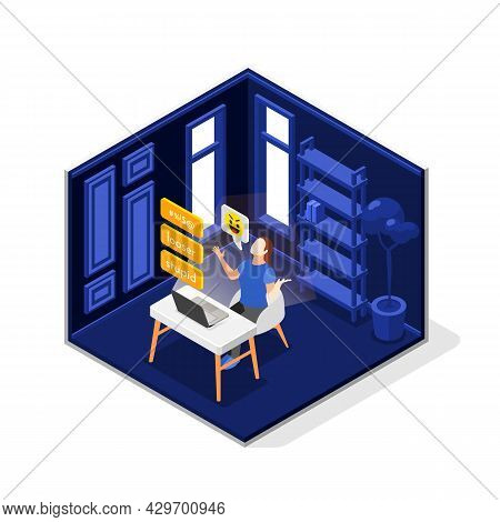 Cyber Bullying Isometric Composition With Female Character Of Bully Attacking Somebody Sending Messa