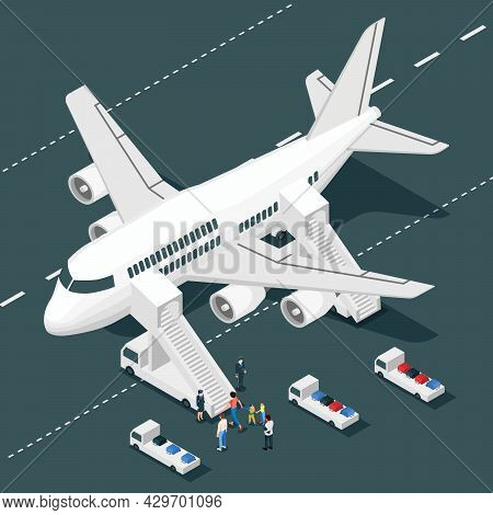 Airplane Onboarding Isometric Composition With Isolated View Of Aircraft With Airstairs Truck Stewar