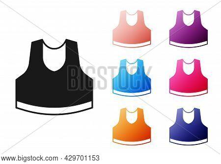 Black Undershirt Icon Isolated On White Background. Set Icons Colorful. Vector