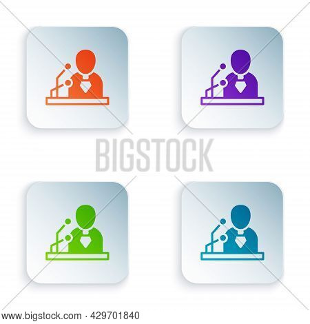 Color Breaking News Icon Isolated On White Background. News On Television. News Anchor Broadcasting.