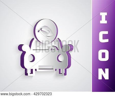Paper Cut Eco Car Concept Drive With Leaf Icon Isolated On Grey Background. Green Energy Car Symbol.