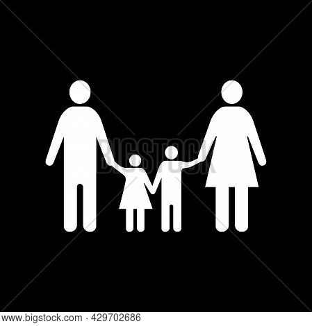 Family Icon Isolated On Black Background. Family Vector Design Illustration. Family Icon Simple Sign