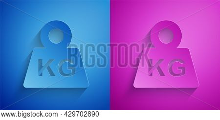 Paper Cut Weight Icon Isolated On Blue And Purple Background. Kilogram Weight Block For Weight Lifti