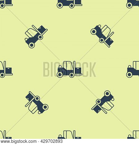 Blue Forklift Truck Icon Isolated Seamless Pattern On Yellow Background. Fork Loader And Cardboard B