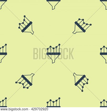Blue Sales Funnel With Chart For Marketing And Startup Business Icon Isolated Seamless Pattern On Ye