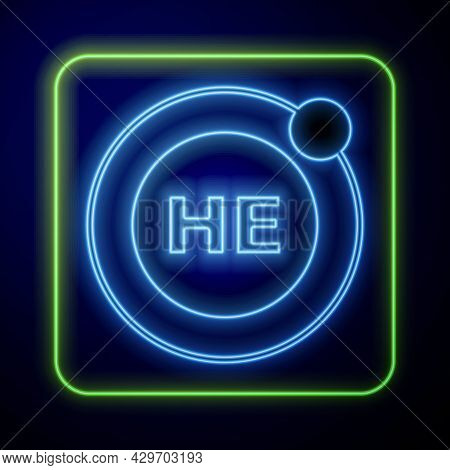 Glowing Neon Helium Chemical Element Icon Isolated On Blue Background. Helium Periodic Table Element