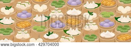 Steamed Dumplings Background. Momo And Dim Sum In Bamboo Steamer Baskets. Asian Traditional Cuisine.