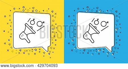 Set Line Female Movement, Feminist Activist With Banner And Placards Icon Isolated On Yellow And Blu