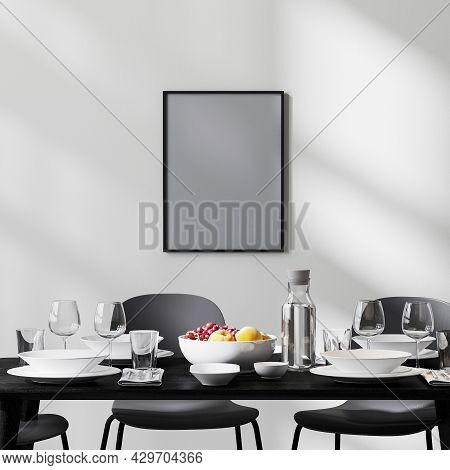 Poster Frame Mock Up In Modern Dining Room Interior With Black Table And Chairs And White Wall With
