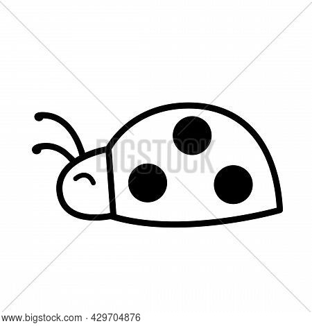 Ladybug For Coloring Page. Cute Simple Ladybug Insect Vector Illustration Isolated On White. Black A
