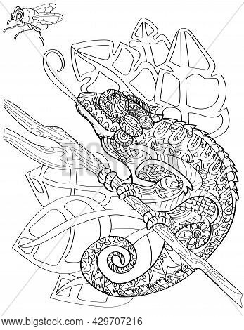 Large Chameleon On End Of Stick Sticking Out Tongue To Reach Fly Colorless Line Drawing. Huge Lizard