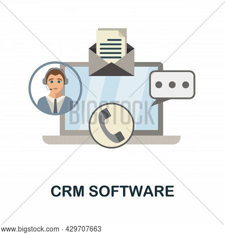 Crm Software Flat Icon. Colored Sign From Customer Management Collection. Creative Crm Software Icon