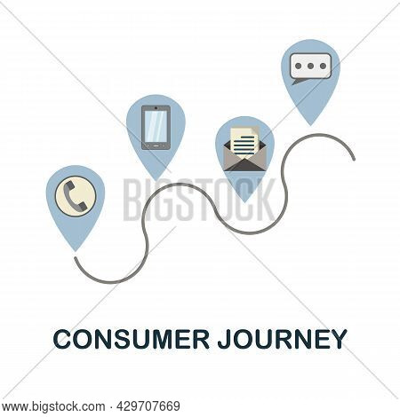 Consumer Journey Flat Icon. Colored Sign From Customer Management Collection. Creative Consumer Jour