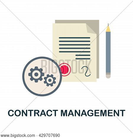 Contract Management Flat Icon. Colored Sign From Customer Management Collection. Creative Contract M