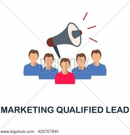 Marketing Qualified Lead Flat Icon. Colored Sign From Customer Management Collection. Creative Marke