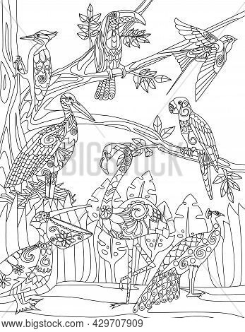 Different Type Of Birds Gathered Beside A Tree Parrot Peacock Colorless Line Drawing. Multiple Fowl