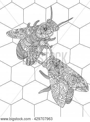Two Bees On A Beehive Gathering Honey Colorless Line Drawing. Bumblebees Inside A Hive Collecting Fo