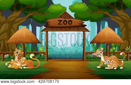 Happy Wild Animal With Their Cubs In The Zoo Illustration