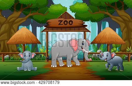 Cartoon A Mother Elephant With Her Cub In The Opened Zoo