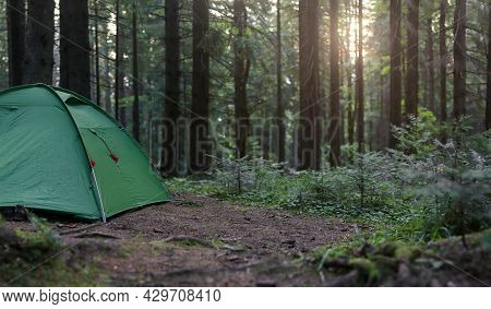 Tourist Green Tent In Forest  At Campsite On Sunset. Camping Background. Panoramic View Of Campsite