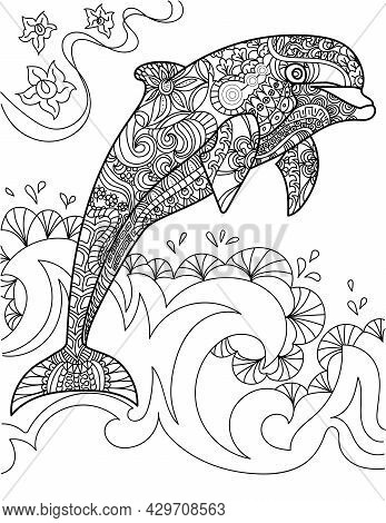 Large Dolphin Jumped Out Of The Ocean Waves Colorless Line Drawing. Huge Orca Jumping From Below The