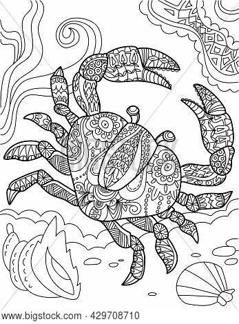 Large Crab Top View Underwater Surrounded By Sea Shells Colorless Line Drawing. Big Decapod Submerge