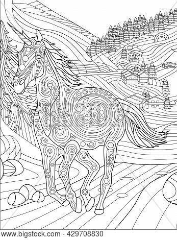 Unicorn Running Away Form Village With Large Trees Colorless Line Drawing. Mythical Horned Horse Run