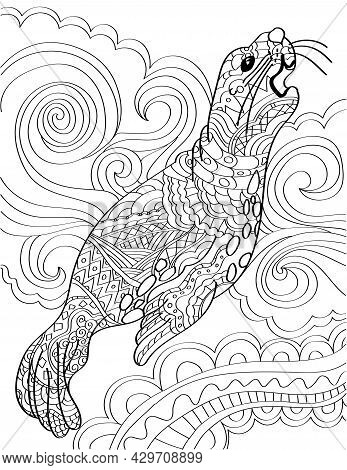 Large Sea Lion Looking Up Growling With Swirly Background Colorless Line Drawing. Huge Seal Standing