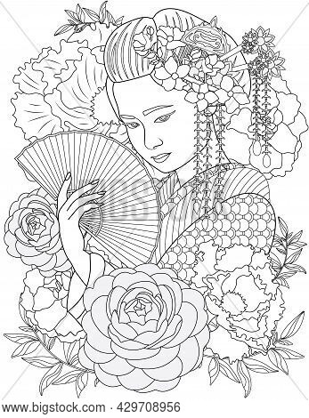 Lady With Beautifully Arranged Hair Holding Fan Looking Down With Flowery Background Colorless Line