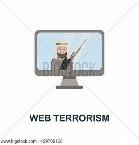 Web Terrorism Flat Icon. Colored Sign From Dark Web Collection. Creative Web Terrorism Icon Illustra