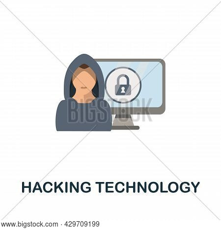 Hacking Technology Flat Icon. Colored Sign From Dark Web Collection. Creative Hacking Technology Ico