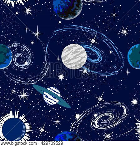 Planets And Stars In A Pattern.abstract Colored Background With Planets And Stars.