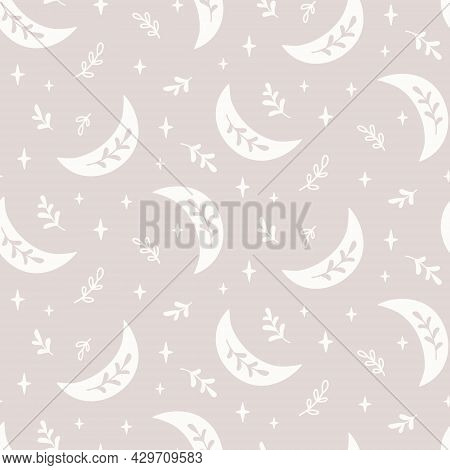 Boho Seamless Pattern With Crescent, Star And Floral Elements. Simple Print In Boho Style. Stock Vec