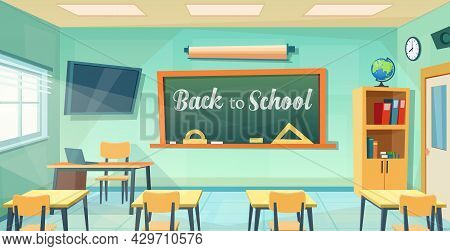 Back To School Poster With Empty Classroom With Teachers Desk. Cartoon Education Background. College