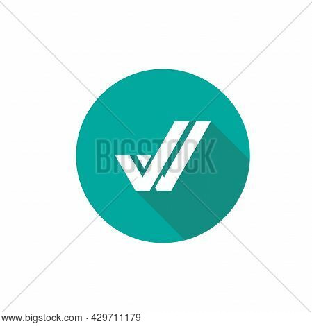 Valid Seal Icon. White Double Tick With Shadow In Blue Circle. Flat Done Sticker Icon. Isolated On W