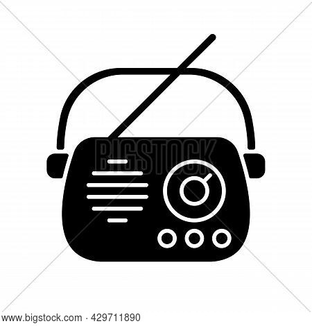 Antique Radio Black Glyph Icon. Old Appliance. Collectable Vintage Radio Model. Device For Music And