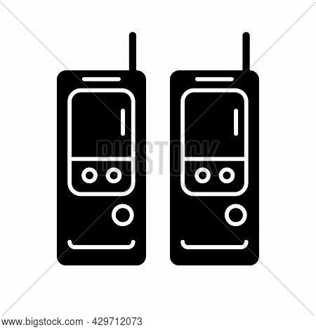 Walkie-talkie Black Glyph Icon. Vintage Handheld Transceiver. Small Portable Device For Communicatio