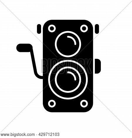 Old Photo Camera Black Glyph Icon. Optical Instrument For Visual Image Capturing. Vintage Photograph