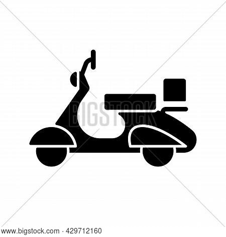 Vintage Moped Black Glyph Icon. Old-fashioned Two-wheeled Vehicle. Antique Scooter. Classic Appearan