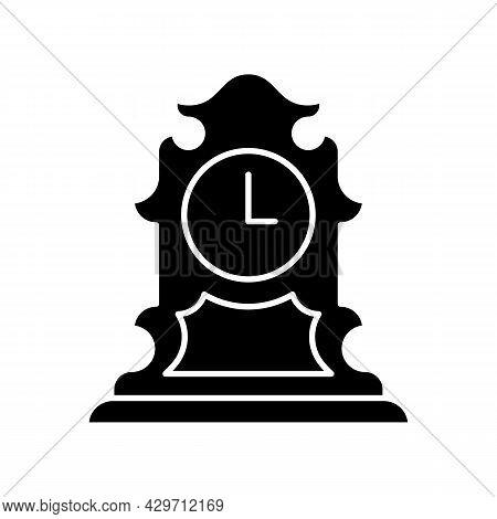 Vintage Tabletop Clock Black Glyph Icon. Antique Table Clock. Collectible Rare Item. Retro Timepiece