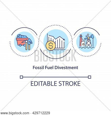 Fossil Fuel Divestment Concept Icon. Investment In Climate Solutions. Reducing Carbon Emissions Abst