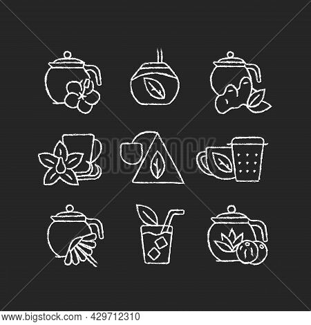 Tea And Tea-like Beverages Chalk White Icons Set On Dark Background. Hot Herbal Beverages. Chai Drin