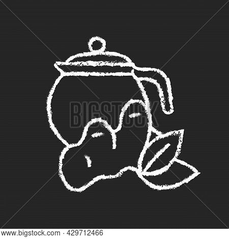 Ginger Tea Chalk White Icon On Dark Background. Ginger Tea With Lemon And Honey. Rich In Vitamins Be