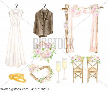 Watercolor Wedding Set. Hand Drawn White Wedding Dress, Groom Suit, Wedding Arch, Bridal Bouquet, Wo