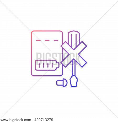 Dont Disassemble Powerbank Gradient Linear Vector Manual Label Icon. Dont Dismantle. Thin Line Color